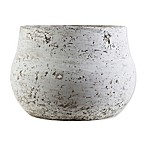 Rome Small Rustic Vase in Brown/White