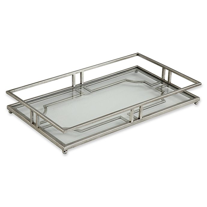 Uttermost Rafaela Iron and Glass Serving Tray in Silver | Bed Bath