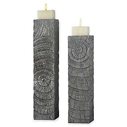 Uttermost Odion Wooden Log Candle Holders (Set of 2)