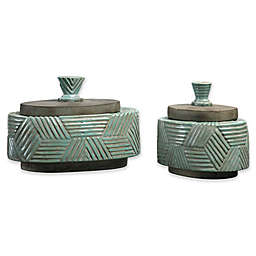 Uttermost Ruth Ceramic Boxes in Blue/Green (Set of 2)
