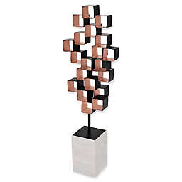 Moe's Home Collection 24-Inch Metal Cube Sculpture in Rose Gold