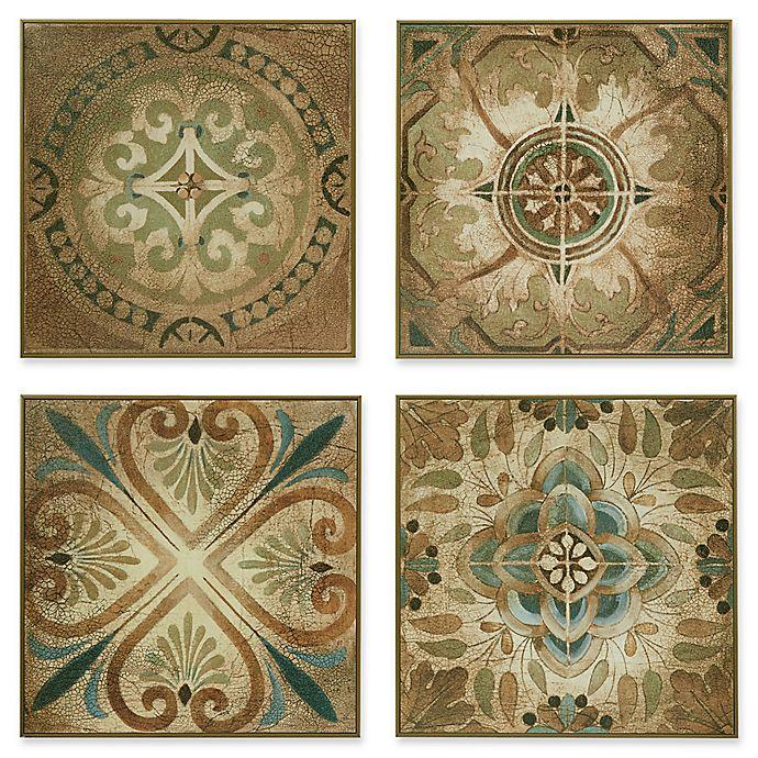 Alternate image 1 for Madison Park Bella Blue Tiles 4-Piece Box Wall Art Set