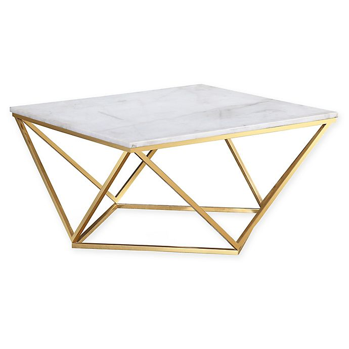 Alternate image 1 for TOV Furniture Leopold Marble Cocktail Table in White/Gold