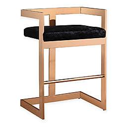 TOV Furniture Marquee Velvet Stool in Black