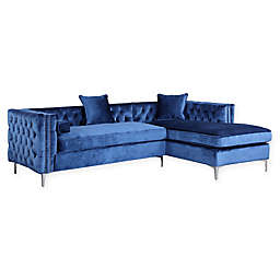 Chic Home Picasso Right-Facing Velvet Sectional Sofa