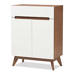 Baxton Studio Calypso Shoe Cabinet in Walnut/White