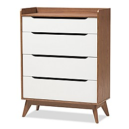 Baxton Studio Brighton Storage Chest in Walnut/White