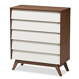 Baxton Studio Hildon Storage Chest in Walnut/White