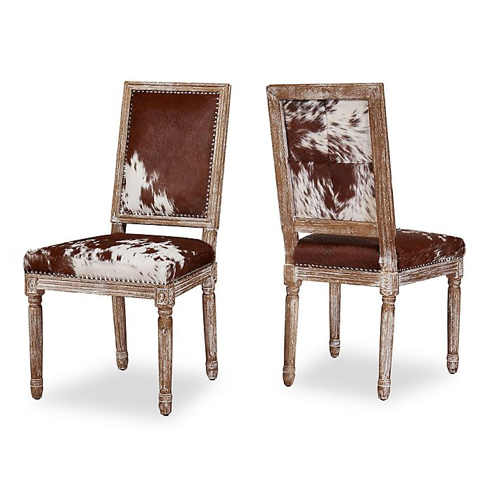 Cowhide Dining Room Chairs: TOV Furniture Cowgirl Cowhide Dining Side Chairs (Set Of 2