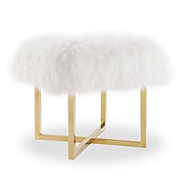 TOV Furniture Nomo Sheepskin Bench in White