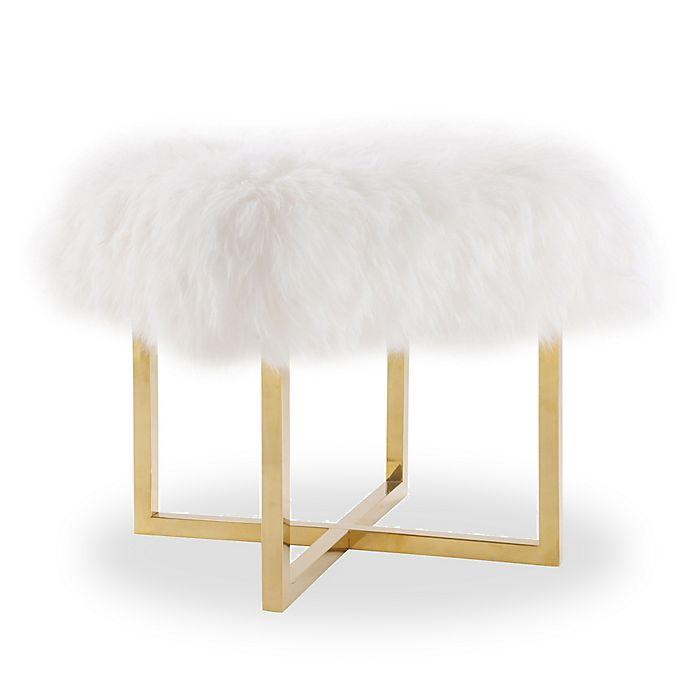Alternate image 1 for TOV Furniture Nomo Sheepskin Bench in White