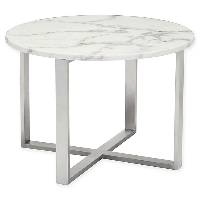 Globe Faux Marble End Table In Stone Bed Bath Beyond