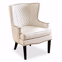 Abbyson Living Aiden Quilted Leather Arm Chair in White