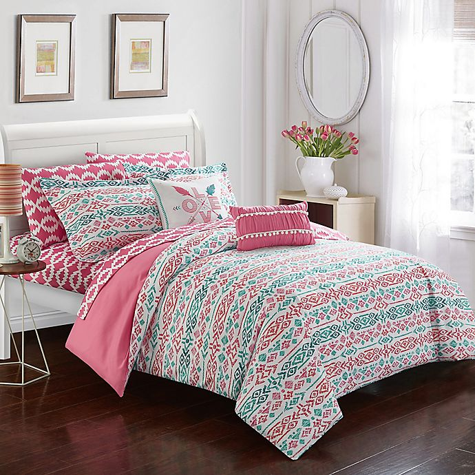 Alternate image 1 for Chic Home Mahalia 7-Piece Twin Comforter Set in Aqua