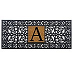 Home & More Scroll Monogrammed  A  17-Inch x 41-Inch Rubber Door Mat in Black/Natural