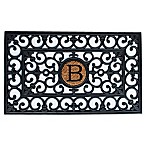 Home & More Scroll Monogrammed  B  18-Inch x 30-Inch Rubber Door Mat in Black/Natural
