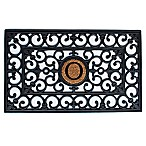Home & More Scroll Monogrammed  O  18-Inch x 30-Inch Rubber Door Mat in Black/Natural