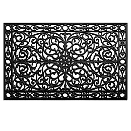 Home & More Gatsby 24-Inch x 36-Inch Rubber Door Mat in Black