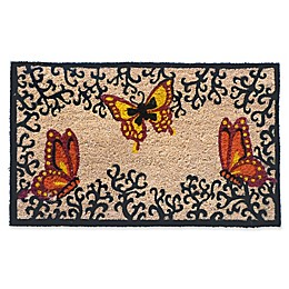 Nature by Geo Crafts Butterflies on Vines 18-Inch x 30-Inch Multicolor Door Mat