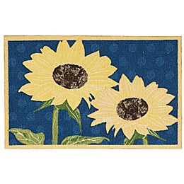 Nourison Yellow Flowers 1-Foot 8-Inch x 2-Foot 6-Inch  Multicolor Accent Rug