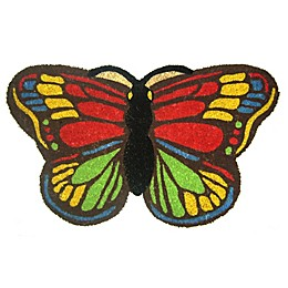 Nature by Geo Crafts Colorful Butterfly 18-Inch x 30-Inch Multicolor Door Mat