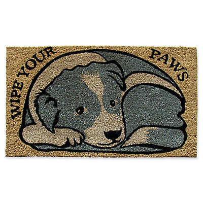 """Nature by Geo Crafts Dog """"Wipe Your Paws""""  18-Inch x 30-Inch Multicolor Door Mat"""