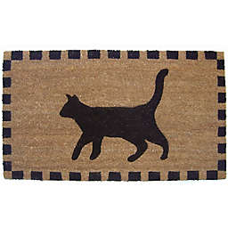 Nature by Geo Crafts Black Cat 18-Inch x 30-Inch Multicolored Door Mat