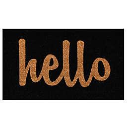 Home & More Hello Script Door Mat in Black/Natural