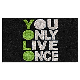 Home & More YOLO 17-Inch x 29-Inch Door Mat in Black/Green