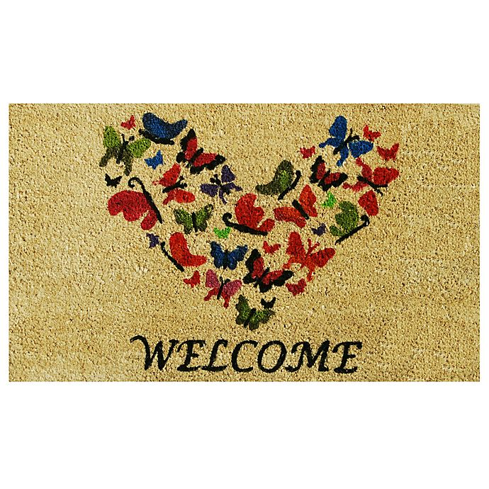 Alternate image 1 for Home & More Butterfly Welcome 17-Inch x 29-Inch Multicolor Door Mat