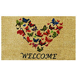 Home & More Butterfly Welcome 17-Inch x 29-Inch Multicolor Door Mat