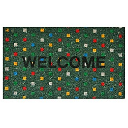 Home & More Polka Dot Welcome 17-Inch x 29-Inch Multicolor Door Mat