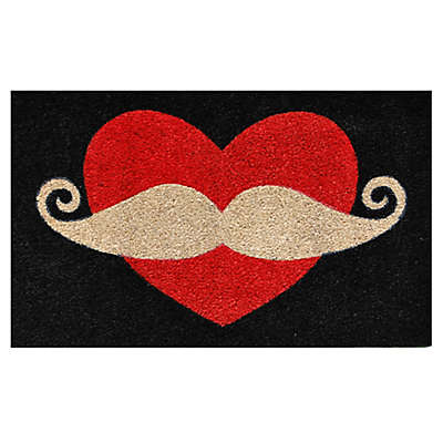 Home & More Moustache Love 29-Inch x 17-Inch Multicolor Door Mat
