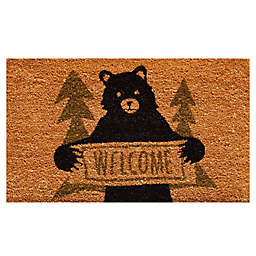 Home & More Bear Greeting 17-Inch x 29-Inch Door Mat in Natural/Green