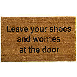 Nature by Geo Crafts Leave Your Shoes 18-Inch x 30-Inch Multicolor Door Mat