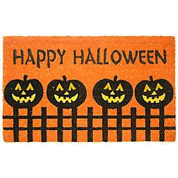 Nature by Geo Crafts Pumpkin Fence Halloween 18-Inch x 30-Inch Multicolor Door Mat