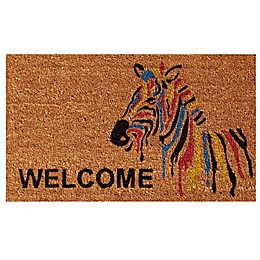 Home & More Zebra Welcome 17-Inch x 29-Inch Multicolor Door Mat