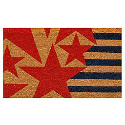 Home & More Stars and Stripes 17-Inch x 29-Inch Rubber Door Mat in Black