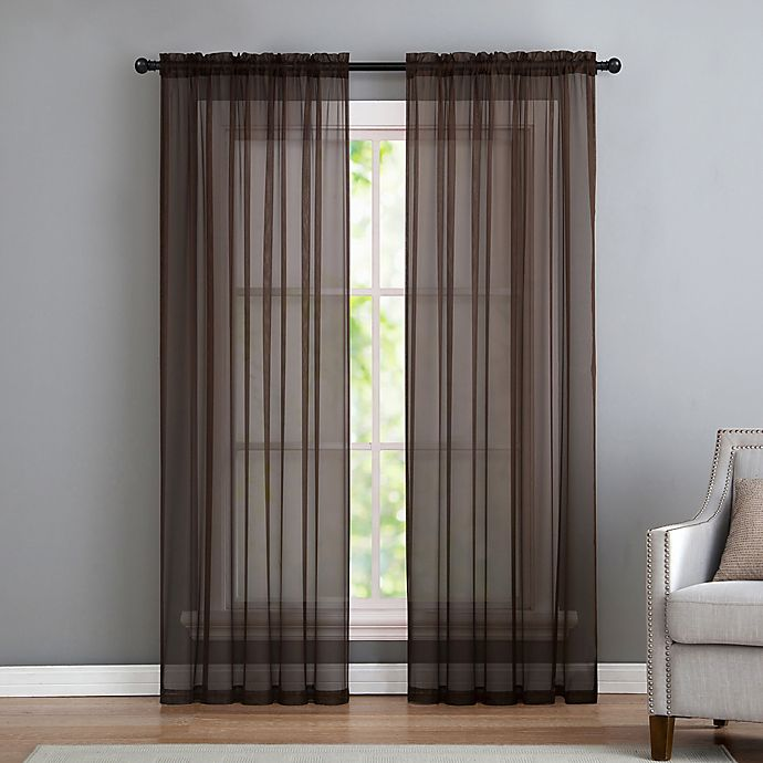 Alternate image 1 for VCNY home Infinity Sheer Rod Pocket 108-Inch Window Curtain Panel in Chocolate