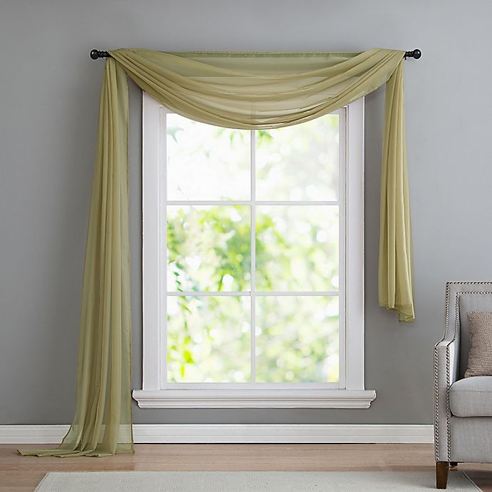 Alternate image 1 for VCNY home Infinity Sheer Rod Pocket Window Scarf Valance in Sage