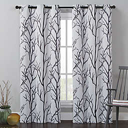 VCNY Home Kingdom 84-Inch Grommet Top Room Darkening Window Curtain Panel in White/ Black