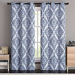 VCNY Home London Damask Grommet Top Room Darkening Window Curtain Panel Pair
