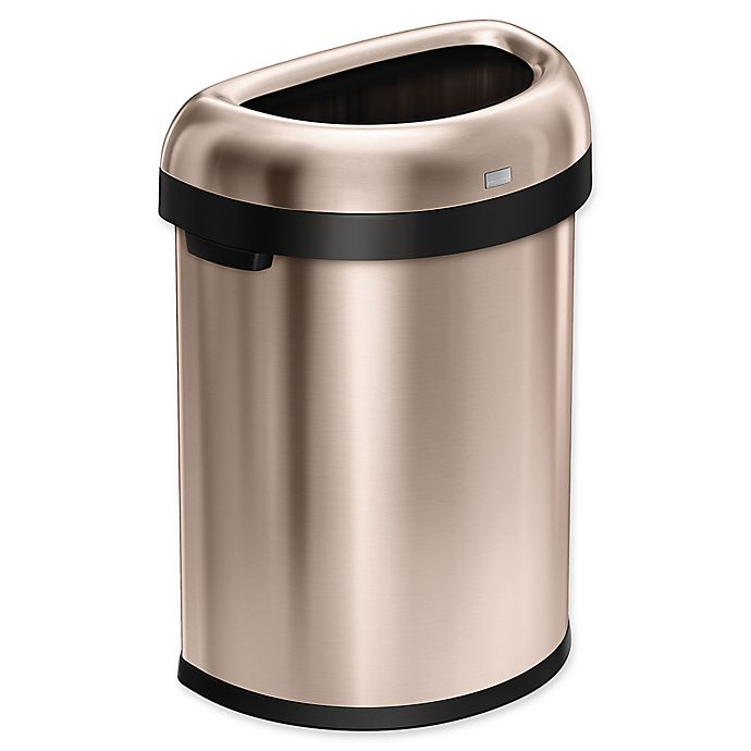 Alternate image 1 for simplehuman® 80 Liter Semi-Round Open Trash Can in Rose Gold