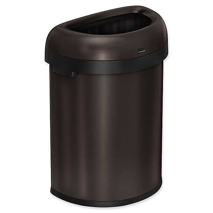Alternate image 1 for simplehuman® 80 Liter Gallon Semi-Round Open Trash Can in Dark Bronze