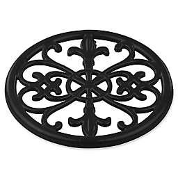 Home Basics Fleur de Lis Cast Iron Trivet in Black