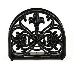Home Basics Fleur de Lis Cast Iron Napkin Holder in Black