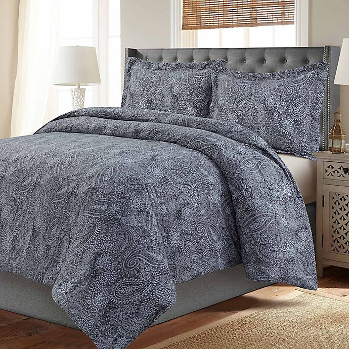 Alternate image 1 for Madrid Paisley Printed Oversized Twin Duvet Cover Set in Grey