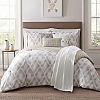 Jennifer Adams Kennedy 7-Piece Reversible Full/Queen Comforter Set in Tan/White