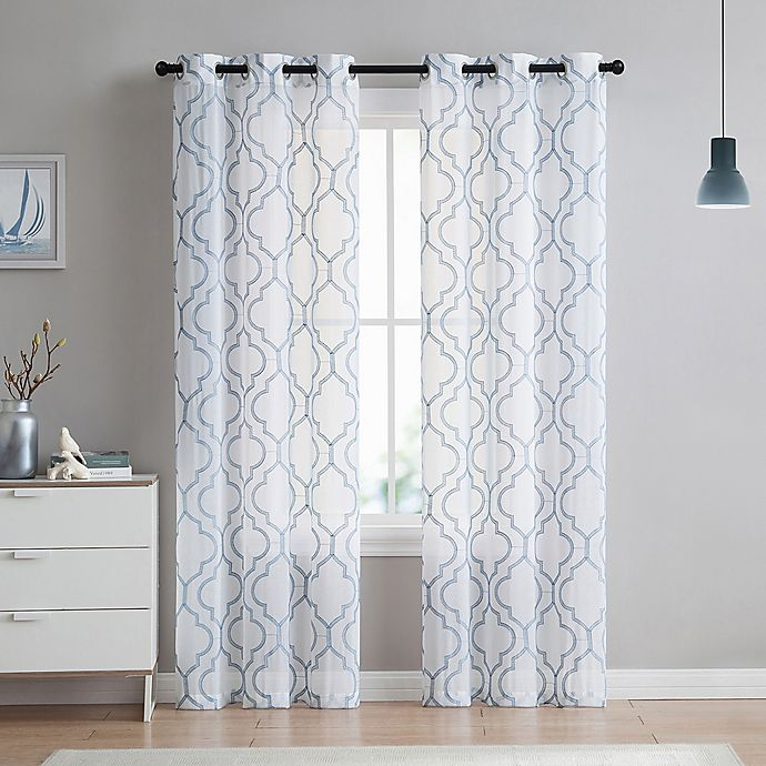 Alternate image 1 for VCNY Home Charlotte Emroidery 2-Pack Grommet Top Sheer Window Curtain Panels