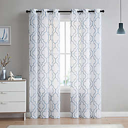 VCNY Home Charlotte Emroidery 2-Pack 96-Inch Grommet Top Sheer Window Curtain Panels in Stone Blue